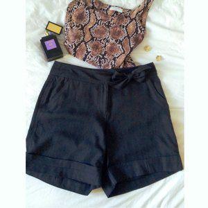 WHBM Black Pure Silk Shorts